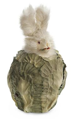 """French Musical Automaton """"Bunny in the Cabbage Patch"""" by Rouillet et Decamps 8"""" (20 cm.) Hiding within a paper-mache cabbage with shaped fab..."""