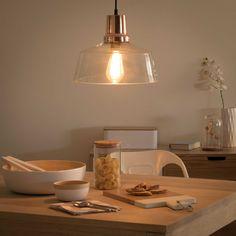 pendant lamp in glass and copper finish metal D 30cm   Maisons du Monde