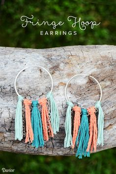Fringe Hoop Earrings Tutorial - Darice Make a pair of statement earrings perfect for summer with this DIY fringe hoop earrings tutorial! This DIY is fast, fun & can be completed in under 30 mins! Moonstone Earrings, Diamond Hoop Earrings, Fringe Earrings, Crystal Earrings, Silver Earrings, Statement Earrings, Crystal Jewelry, Unique Earrings, Diy