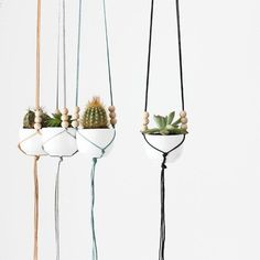 Miniature porcelain hanging planters make lovely gifts for housewarmings and hostesses.