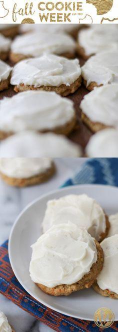 Frosted Carrot Cake Cookie Recipe - fall baking #FallCookieWeek