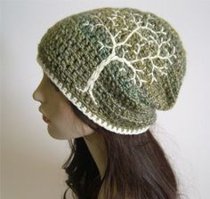 Slouchy Hat with Embroidered Tree - Green, Blue, Yellows, and Cream