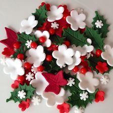 CHRISTMAS CAKE TOPPERS sugar paste edible cake decorations holly flowers pearls