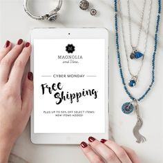 Last chance for FREE SHIPPING on all customer orders over $40 US/$50 CA.  Shop up to 50% off select items including Snaps, jewelry, and accessories!  New items added from Black Friday Sale...get them while this sale lasts! Perfect time to buy for your favorite ladies! Sale ends at Midnight CST. https://www.mymagnoliaandvine.com/LEANNW/shop/catalog.aspx