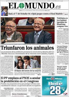 Portada de El Mundo tras la aprobación en el Parlament Catalán de la Ley para prohibir corridas de toros