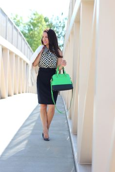 High waist pencil skirt with a tucked patterned blouse