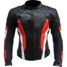 Leather Skin Black Red Stripes Biker Motorcycle Racing Genuine Leather Jacket