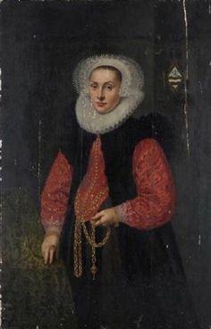Portrait de jeune femme à la coiffe décorée de dentelles par Cornelis van der Voort