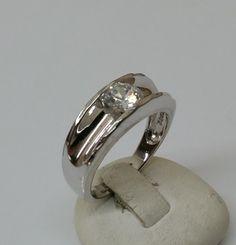 Vintage Ringe - Ring 925er Silber mit klarem Kristallstein SR662 - ein Designerstück von Atelier-Regina bei DaWanda