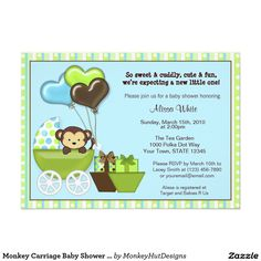 Shop Monkey Carriage Baby Shower Invitation BLUE GREEN created by MonkeyHutDesigns. Personalize it with photos & text or purchase as is! Monkey Invitations, Custom Invitations, Invitation Cards, Invites, Invitation Ideas, Party Invitations, Baby Shower Niño, Baby Shower Parties, Baby Shower Themes