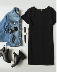 Casual spring and summer outfit! Black t-shirt dress paired with a light wash jeans jacket, some black ankle boots and some black accessories.