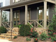 Front Porch Railing Ideas Materials And More In Exterior Porch Handrail Ideas Optional Porch Railing Design With Wire Backing To Meet Local Building Code Porch Handrails, Front Porch Railings, Deck Railings, Front Porch With Columns, Wrought Iron Porch Railings, Front Porch Deck, Front Porch Posts, Porch Stairs, Balcony Railing