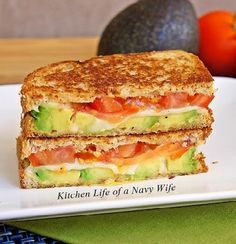 Avocado, Mozzarella, and Tomato Grilled Cheese (add bacon!)
