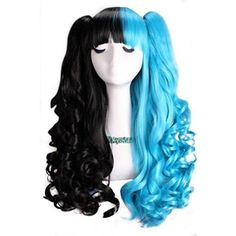 L-email wig 50-60cm Black&blue Long Lolita Clip on Ponytails Wavy... (46 AUD) ❤ liked on Polyvore featuring beauty products, haircare, hair styling tools, hair and wig