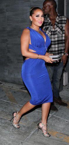 Adrienne-bailon-blue-dress Adrienne Bailon's 2014 BET Awards After Party Celebboutique Chelsea Blue Cobalt Cut Out Bodycon Dress