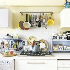 Yellow country kitchen cooking area | Decorating