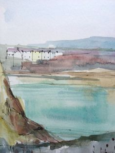 Original Watercolour Painting - Houses across the Bay - Signed Annabel Burton