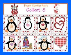 Free Valentine's matching game and penguin games on the Pre K and K Sharing Blog.