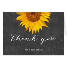 Country Wedding Thank You Cards Country Sunflower Chalkboard Wedding Thank You Card