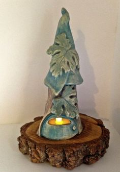 One-of-a-kind Clay Faerie House / Pottery Fairy House in Muted Blues & Greens / Handmade Night Light Tree House / Candle Holder by cyvonneh on Etsy