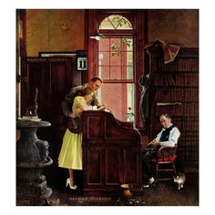"""Marriage License"" illustration by Norman Rockwell. Quite lovely with the juxtaposition of the bored work-a-day bureaucrat and the giddy new-love couple seeking to get married."