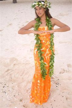 The dress is a nice look for older flower girls.  With a shell or lei but probably not a hake/po lei.