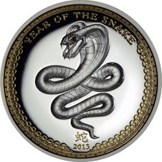 Silver Coins - 2013 Palau Lunar Year Of The Snake High Relief 1 oz Silver Coin with gemstone