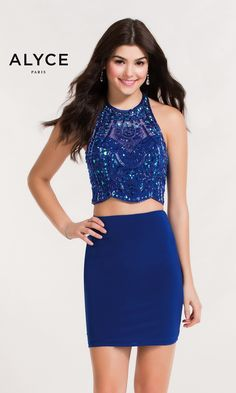 Short Evening Dresses Homecoming Dresses by ALYCE PARIS<BR>aay4473<BR>Two-piece bodycon tulle/jersey dress with beaded halter crop top and open back.