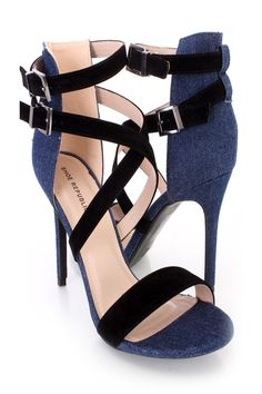 These sexy and super trendy single sole heels include a velvet fabric upper with denim fabric trim, cross strappy design with a side high polish buckle closures, strap vamp with an open toe, smooth lining, and cushioned footbed. Approximately 4 1/2 inch heels.http://www.amiclubwear.com/shoes.html