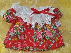 Zapf-Creation-Puppen-Kleidung-26-cm-Kleid-rot-weiss-Blumen-Spitzenkragen-Baggy