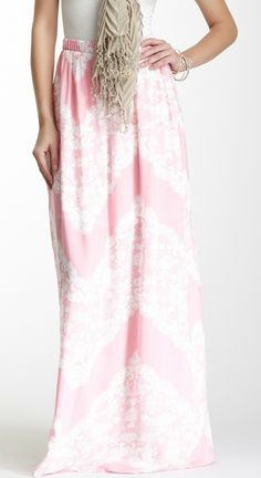 Lace Print Maxi Skirt