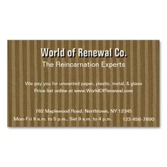 """The """"Corrugated Cardboard for Recyclers, Movers, Etc."""" business card is perfect for recyclers and movers, but it's also great for companies that make and supply boxes, or even the business seeking a card that simply stands out from the usual."""