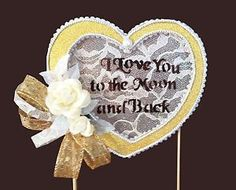 Wedding Cake Topper I Love You to The Moon and Back Handmade Lace Ivory Roses   eBay