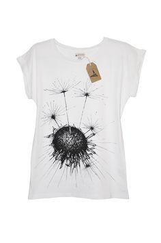 Uniqorn Urban Clothing. Dandelion. Hand-drawn graphic. Screen print. White Tshirt.
