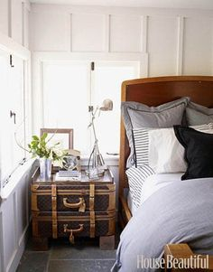 suitcases as a nightstand