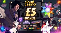 Cloud Casino – Exclusive £€5 Free Chip on Jimi Hendrix/Starburst   £€500 Welcome Pack