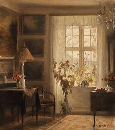 blastedheath:Carl Holsøe (Danish, 1863-1935), Interior. Canvas, 47.5 x 42cm.