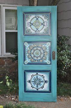 Artículos similares a Mano pintada, antigüedad, vintage inspirado, cabecero de puerta, pared monte como rey cabecero, cabecero de la reina, doble cabecera en Etsy