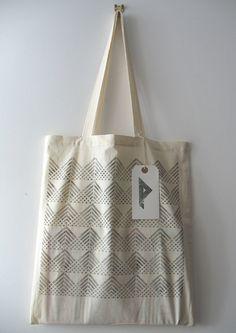 Fan - hand printed cotton tote bag (black). £8.00, via Etsy.
