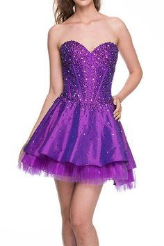 A Line/Princess Strapless Sweetheart Neckline Home Coming Party Holiday Cocktail Short Prom Dress With Ruffle