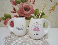 souvenirs mates,tazas,bautismo,cumple infantil,15,comunión Baby Shower, Mugs, Tableware, Painting, 15 Years, Cups, 21st Birthday Decorations, Cellophane Bags, Fimo