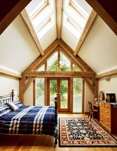 You would like your roof design to seem fantastic, but in addition keep you and your family safe. The roof design has to be suitable for the application. The shed roof design however offers no adjoining slopes as it's pitched… Continue Reading → Oak Frame House, A Frame Cabin, Style At Home, Roof Styles, House Styles, Vaulted Ceiling Bedroom, Shed Roof Design, Cottage Extension, Glass Roof