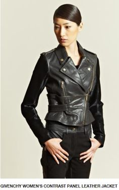 Givenchy Women's Contrast Panel Leather Jacket.  100% Lamb/Sleeves 100% Calf Leather Fur/Lining 100% Viscose.