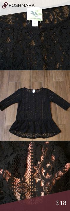 Anthropologie lace peplum top XS Anthropologie see through black lace peplum style top. In excellent condition. Worn a few times. Size cos sleeves hit above elbows. A little longer in back ruffle peplum around bottom. Anthropologie Tops