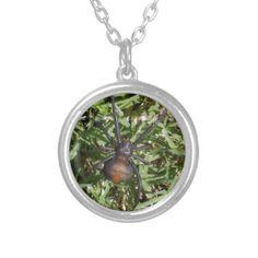 Aussie_Redback_Spider,_ Round Pendant Necklace