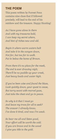 Finding Fenn's Treasure: An Interpretation of the Poem - Santa Fe - Live, Work, Play, Stay