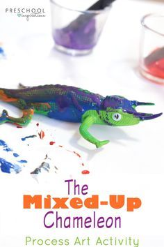 Fun preschool process art activity to pair with Eric Carle's book The Mixed-up Chameleon! Kids can explore color mixing with this chameleon process art. Painting Activities, Color Activities, Preschool Activities, Literacy Activities, Mixed Up Chameleon, Preschool Art, Kindergarten Art, Book Crafts, Letter Crafts