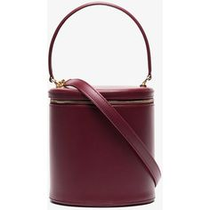 Staud Burgundy Vitti Leather Barrel Bag (€425) ❤ liked on Polyvore featuring bags, handbags, red, leather barrel bag, red handbags, red leather purse, purple leather handbags and purple leather purse