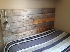 Another angle of the reclaimed cable reel headboard. This was for a queen size bed.