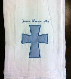 """Personalized burp cloth """"Jesus Loves Me"""" blue Cross applique"""